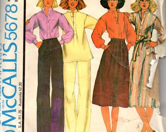 1970s McCalls 5678 Misses Dress Top Skirt Pants Pattern CINNAMON Womens Vintage Sewing Pattern Size 10 Bust 32