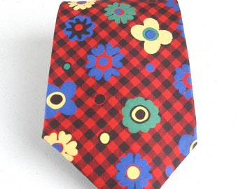 Vintage 80s YSL Mod Flower Tie in red and black checks Yves Saint Laurent