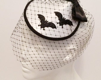WHITE Bat Hat with Birdcage veil
