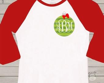 Monogram shirt for holidays - green ornament monogram ADULT raglan shirt- perfect for Christmas shopping and parties