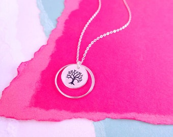 Family tree necklace, eternity necklace, silver circle necklace, tree of life charm necklace, sterling silver, friendship necklace, bff gift