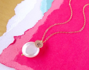 Freshwater Coin Pearl Necklace with Initial charm, Personalized necklace, wedding jewelry, bridesmaid gift, bridal jewelry, briguysgirls