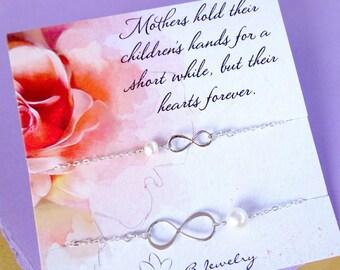 Mother Daughter infinity bracelet SET, Mothers day gift, Mother and child bracelet set, silver infinity bracelets, set of two bracelets
