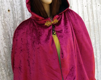 Short Cape Fuschia Red Hooded Cloak Handmade