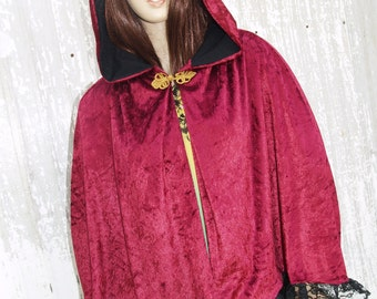 Red Short Cape Hooded Cloak Handmade