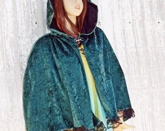Green Cape Hooded Cloak Handmade