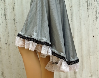 High low skirt with lace ruffle trim Handmade