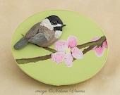 Bird Sculpture, Chickadee & Apple Blossom on Wooden Trinket Box, Polymer Clay Bird, Nature Art, Bird Lover Gift, Spring Decor