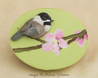 Bird Sculpture, Chickadee & Apple Blossom on Wooden Trinket Box, Polymer Clay Bird, Nature Art, Bird Lover Gift, Spring Decor