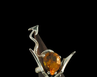 Dragon Ring with Gemstone Silver Sculpture Dragon Ring With Citrine Citrine Ring Dragon Jewelry Citrine Jewelry Game of Thrones Inspired