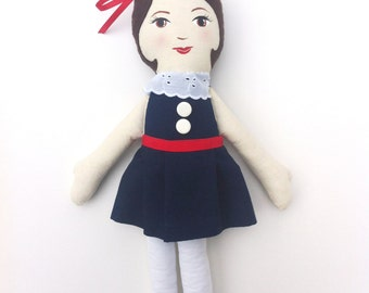Cloth Heirloom Doll, Gorgeous Rag Doll, Brunette with Handpainted Face