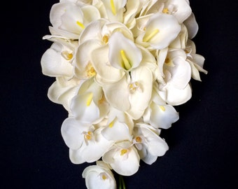 Ultra High-Quality Ivory Orchid and Calla Lily Cascading Bridal Bouquet