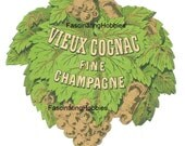 Vintage - Vieux COGNAC Fine CHAMPAGNE - French Printed paper LABEL- years 1960 - cut out green leaves, golden grappes - very good condition