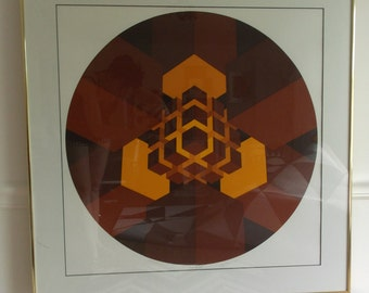 hand signed vintage 1970s Brian Halsey Serigraph / 70s abstract Op Art limited edition print/ framed geometric fine art print