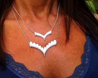 Small Valeria Necklace - Scalloped V Necklace - layered necklace - chevron necklace - scalloped necklace - boho necklace - dainty necklace