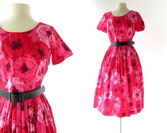1950s Floral Dress | Pink Ranunculus Dress | 50s Dress | S M