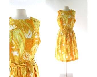 Vintage 1960s Dress / Der Goldene Wind / Yellow Dress / 60s Dress / Large L
