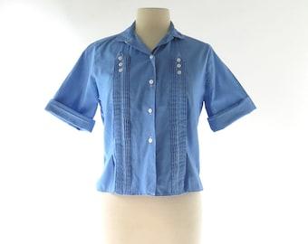 Vintage 1950s Blouse / Sapphire Blue Blouse / 50s Blouse / Pintuck Blouse / M L