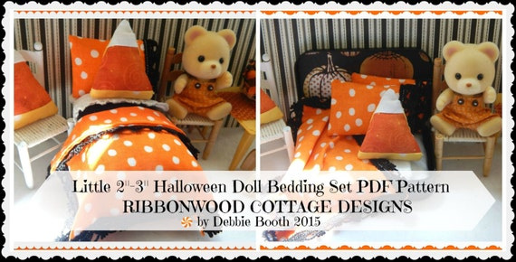 "Sewing Pattern PDF Pattern- Little HALLOWEEN Bed and Bedding Set  for 2""-3"" Dolls-Sylvanian Style Dolls"