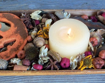Jack-O-Lantern Country Potpourri,Halloween,Rustic, Pumpkin, Bat,Saltdough,Room Scent,Seasonal,Botanicals,Refresher Oil Included