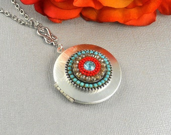 Gypsy Locket,Silver,Turquoise Necklace,Necklace,Antique Stone, Red, Red Necklace, Aqua stone Valentine