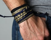 Mens Bracelet, Gift Ideas, Wrap Bracelet, Mens Jewelry, Gift for Men, Blue and Black Bracelet, For Him