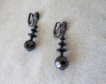 Dramatic Black on Black Vintage Glass Beads Drop Earrings