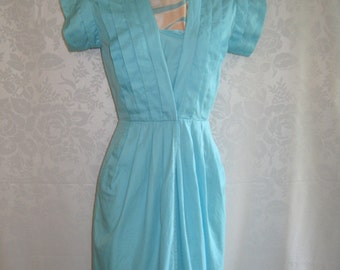 Aqua Blue Flat Pleat Wrap Dress Size Small Vintage 80s