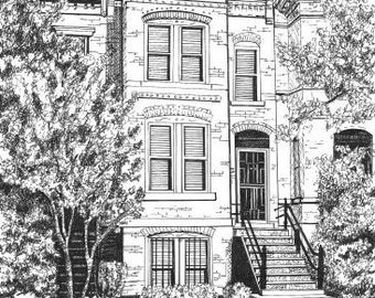 CUSTOM HOUSE PORTRAIT in Pen & Ink by Suzanne Churchill, Perfect Realtor Closing Gift, House Warming  or House Leaving Gift, Parents Gift