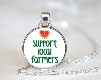 Support Local Farmers Changeable Magnetic Pendant Necklace with Organza Bag