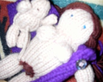 WINONA DOLL Knitted Birthing Doll with Baby that You Birth Includes Dress