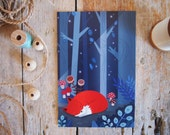 Fox postcard illustration, fox in the woods, kids card