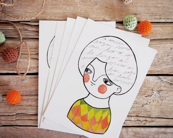 Postcards set, 5 girl portrait illustration in watercolor
