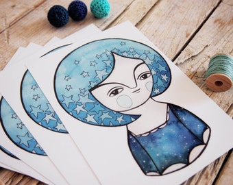 Night postcards set blue girl portrait set of 5