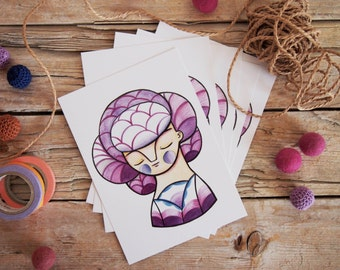 Purple girl postcards set of 5 cute illustration