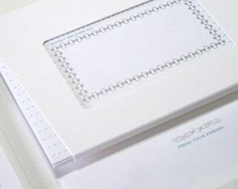 A1 size stationery set of 10 - Silver Border