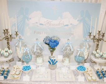 ANGELS and SKY Printable Party 72x39 Backdrop - Blue and Silver - You Print