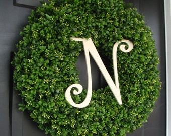 Custom Artificial Boxwood Wreath Outdoor Year Round Door Wreath Monogram Boxwood Wreath Spring Wreath Fall Wreath Christmas Wreath for Door
