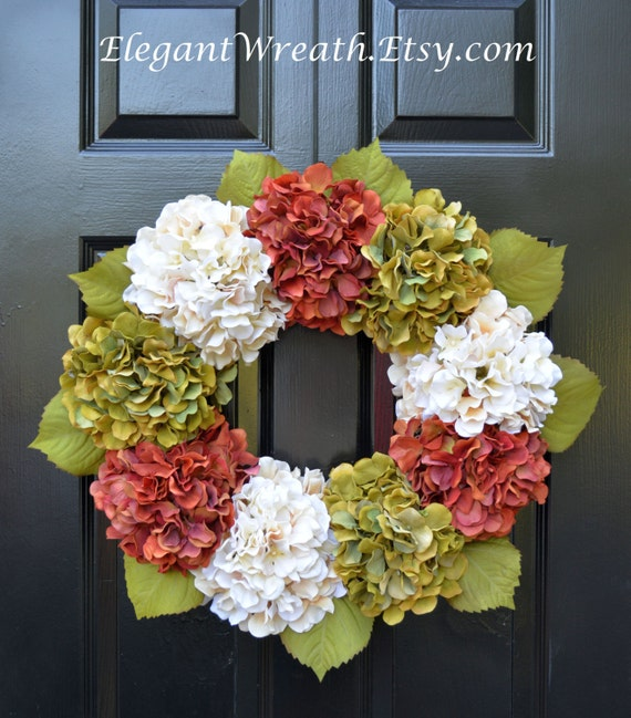 Hydrangea Fall Wreaths, Autumn Wreath, Fall Hydrangeas Fall Wreath Decor, Fall Weddings, Fall Decoration, 24 inch Ready to Ship