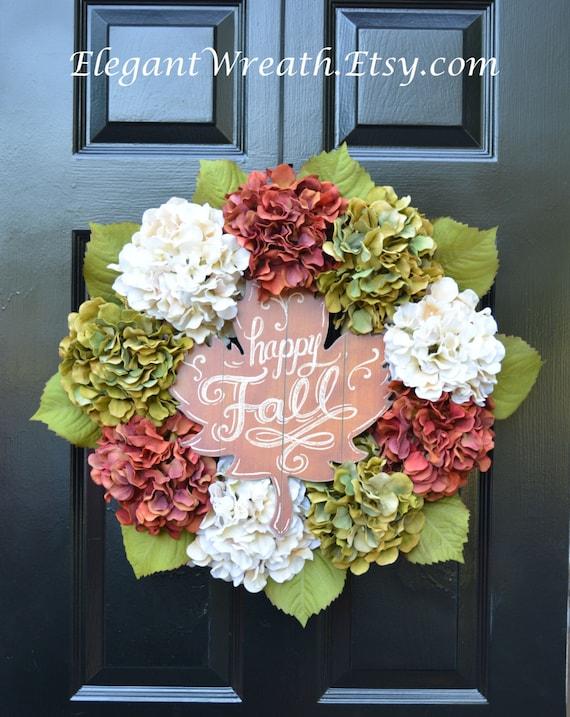 Happy Fall Hydrangea Wreath, Hydrangea Fall Wreaths, Fall Wreath, Fall Decor, Fall Decoration, Xtra large wreath