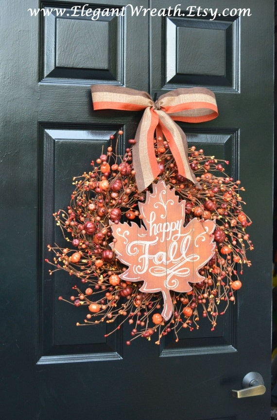 Fall Berry Wreaths,  Monogram Fall Wreaths, Happy Fall Orange Pumpkin Wreath with Bow WEATHERPROOF Berries