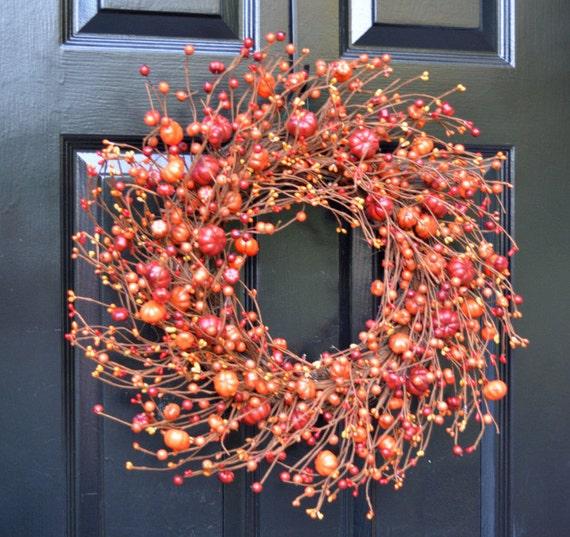 Pumpkin Berry Fall Wreath Thanksgiving Decor Monogram Fall Wreaths, Hostess Gift - Pumpkin, XXL 19-22 inch Thanksgiving