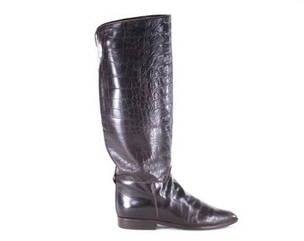 Charles David Croc Print Vintage Leather Made in Italy Equestrian Brown Flat Boots Size 7