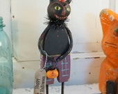 Halloween Decor / Halloween Folk Art / Black Cat / Vintage Style Halloween Decoration / Pumpkin / Primitive Halloween / Art Doll