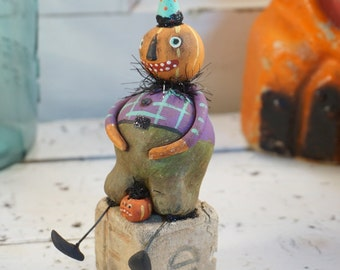 Halloween Decor / Halloween Art / Folk Art / JAck O Lantern / Pumpkin / Vintage Style / Art Doll / Hand Sculpted Halloween /