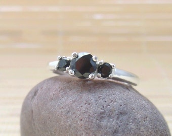 Black Spinel Three stone ring Solitaire Sterling Silver Made To Order