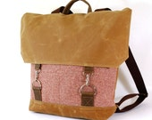 Cranberry Vintage Wool & Waxed Canvas Snap Hook Backpack