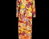 Vintage 70s Zip Front Maxi Dress Galactic Psychedelic Surreal Landscape Nylon Retro Costume Party M Medium