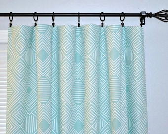 "Pair of Curtain Panels - Rod Pocket or use Ring clips, Premier Prints Phase Canal Twill  - 25"" or 50"" wide - You choose length"