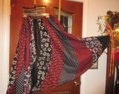 gypsy black white red  skirt adjustable  Small ,Medium, Large, Xlarge  Plus size 1XL, 2XL,3XL, 4XL,waist up to 58''  skirt gored swirl fun